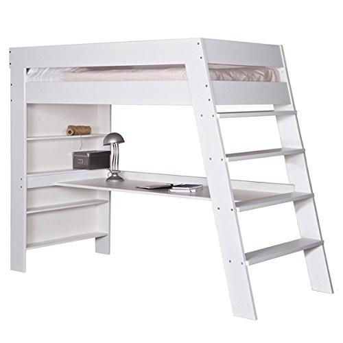 Hochbett JULIEN Schreibtisch Kinderbett Leiter Kinderzimmer Bett Stockbett weiß kaufen