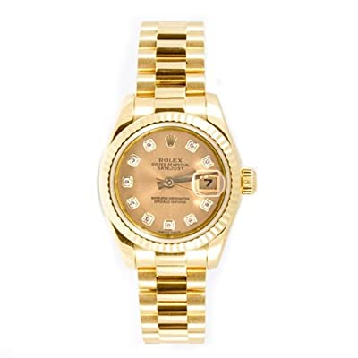 Rolex Ladys President Style Heavy Band 18k Yellow Gold Model 179178 Fluted Bezel Champagne Diamond Dial by Rolex