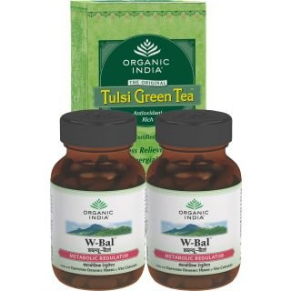 Organic Weight Balance Kit - Buy 2 Weight Balance Capsules Bottles + 1 Tulsi Green Tea 25 Tea Bags Box