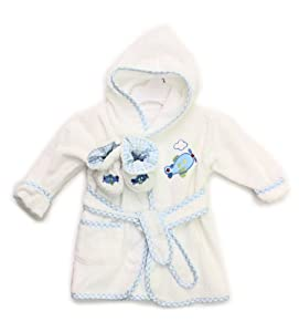 Spasilk 100% Cotton Hooded Terry Bathrobe with Booties, Blue Plane, 0-9 Months at Sears.com