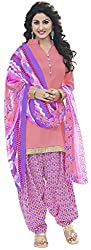 Parinaaz fashion Peach SUNHERI Crepe Patiyala Dress Material