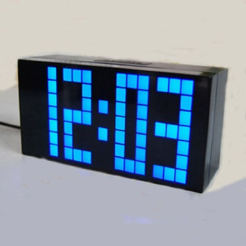 Large Big 4 6 Digit Jumbo LED Digital Alarm Calendar Snooze Wall Desk Clock (bule, 4-digit version)