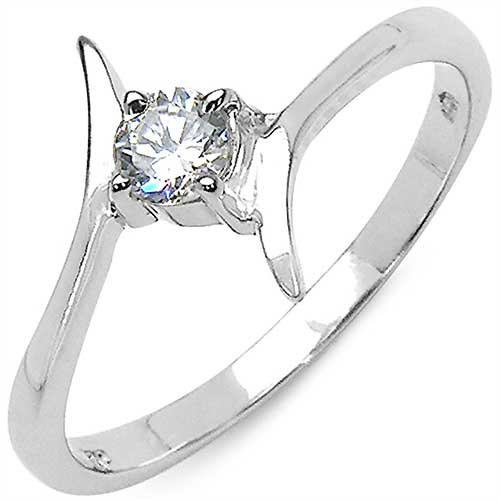 0.44CTW Genuine White Cubic Zircon.925 Sterling Silver Ring