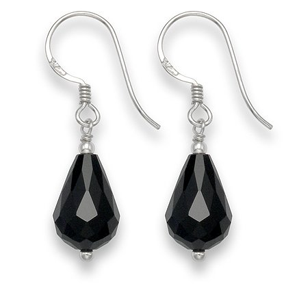 Sterling Silver Faceted Onyx Peardrop earrings with silver beads - SIZE: 8mm x 14mm 7050ON . Shipped in our Quality Silver Gift Box by 1st class mail