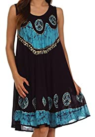Sakkas Women's Batik Peace Caftan Tank Dress