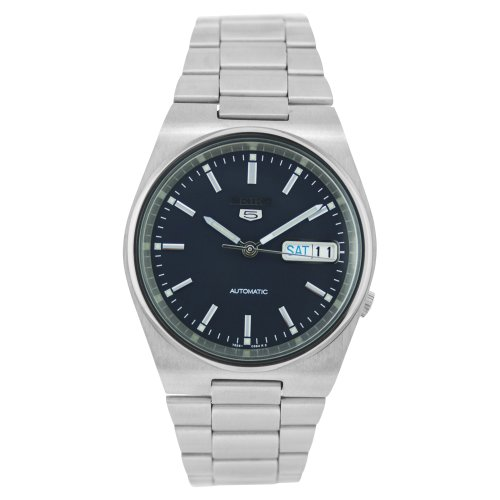 Seiko Men's 5 Automatic SNXL43K Silver Stainless-Steel Automatic Watch with Black Dial