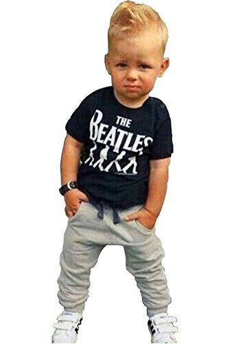 Bambino 2pezzi cotone The Beatles t shirt + pants Set Outfits Abbigliamento black&grey 80 cm/0-12 Mesi