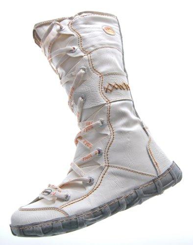 Leder Stiefel TMA Damen Winter Schuhe gefüttert Weiß Kniehohe Damenstiefel Gr. 38