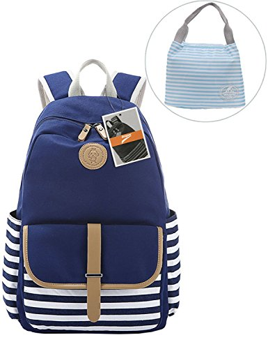 Leaper Thickened Canvas Laptop Bag Shoulder Daypack School Backpack and Cute Lunch Bag (2PCS, Blue1)