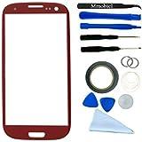 Samsung Galaxy S3 i9300 i9305 Display Frontglas Touchscreen Rot mit 12 teiligem Werkzeugset (inkl.Saugnapf, Draht, Mikrofasertuch, Schraubenzieher, Hebelwerkzeug) MMOBIEL