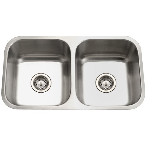 Houzer STD-2100 Easton 31-1/4-by-17-3/4-Inch 50/50 Double Bowl Undermount Stainless Steel Kitchen Sink