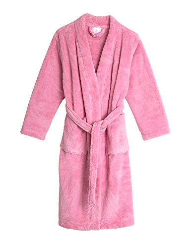 TowelSelections Big Girls' Kimono Plush Robe Soft Fleece Bathrobe Size 12 Sea Pink