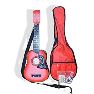 pink acoustic toy guitar for kids with carrying bag and accessories directlycheap. Black Bedroom Furniture Sets. Home Design Ideas