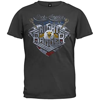 night ranger mens rock in america soft t shirt small black clothing. Black Bedroom Furniture Sets. Home Design Ideas