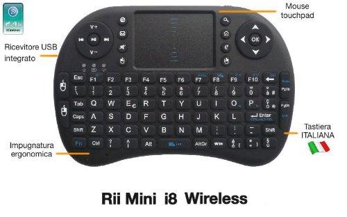 Rii Mini i8 Wireless (layout ITALIANO) - Mini tastiera wireless ergonomica con mouse touchpad per Smart TV, Mini PC, HTPC, Console, Computer