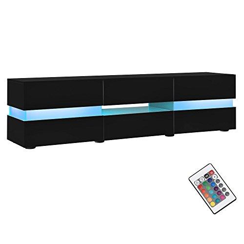neuhaus-Sideboard-TV-Mbel-schwarz-Hochglanz-Lack-Lowboard-Fernsehtisch-mit-LED-Licht-TV-Schrank-fr-Flachbildschirme-HiFi-Rack-mit-Schubladen