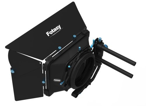 Fotasy MB03 Pro Swing-Away Matte Box Sunshade with Donuts for 15mm Rod Rig Video HDLSR Movie Making System (Black)
