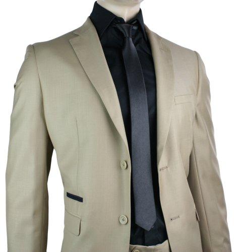 Mens Slim Fit Suit Tan Brown 2 Button Black Trim Office or Party Suit UK
