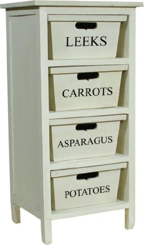 OFF WHITE TINTED WOODEN 4 DRAWER VEGETABLE RACK, CABINET FROM CENTURION PINE