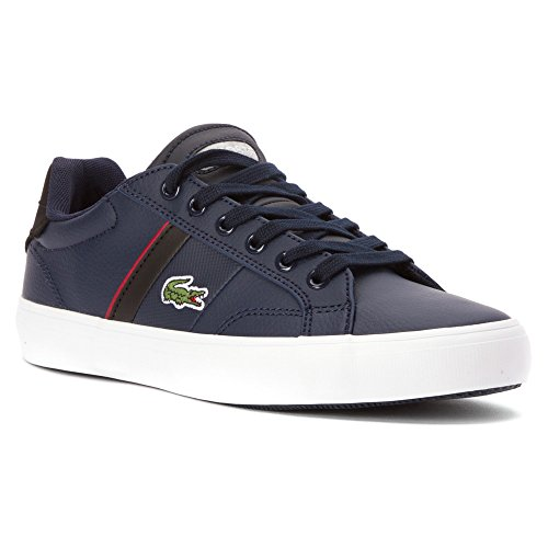 Lacoste Youth Fairlead Urs Sneakers in Dark Blue/Red 5 M US