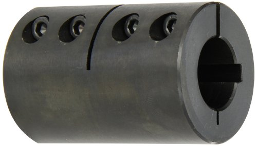 Climax Part Cc-100-100-Kw Mild Steel, Black Oxide Plating Clamping Coupling, 1 Inch X 1 Inch Bore, 2 Inch Od, 3 Inch Length, 1/4-28 X 5/8 Set Screw