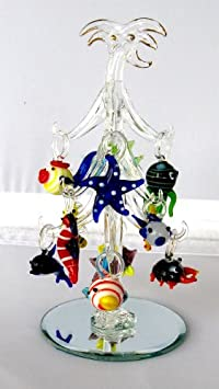 #!Cheap Crystal Glass Palm Christmas Tree with Removable Sealife Ornaments