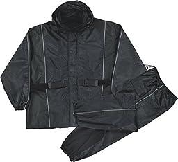 Mens Waterproof Rain Suit Reflective Piping / Heat Guard, Black Size 5XL