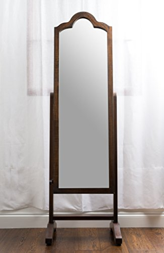 Hives & Honey Full Length Mirror Jewelry Cabinet with Ogee Shaped Top, Antique Walnut