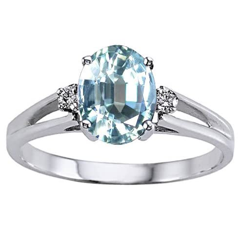 Genuine Aquamarine and Diamond Ring - 14kt White or Yellow Gold
