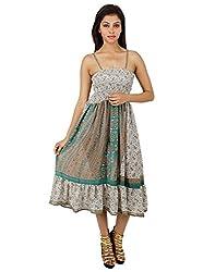 Vintage Polyester Floral Dress Green Printed Medium For Girl's By Rajrang
