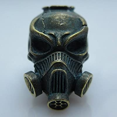 Skull Gas Mask Paracord / Lanyard Bead In Brass With Antique Patina By Techno Silver by Techno Silver