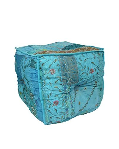 Uptown Down Square Patchwork Pouf, Blue