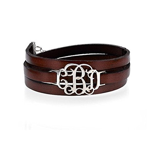 Leather Wrap Monogram Bracelet -Custom Made with any initial! (Custom Made Bracelets For Men compare prices)