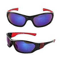 MLC Eyewear TR90 Wrap Fashion Sunglasses Black Red Frame Purple Lenses for Women and Men