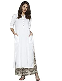 Pistaa Women's White Solid Cotton Kurta With Two Patch Pockets