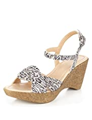 Leather Faux Snakeskin Print Twisted Front Wedge Sandals