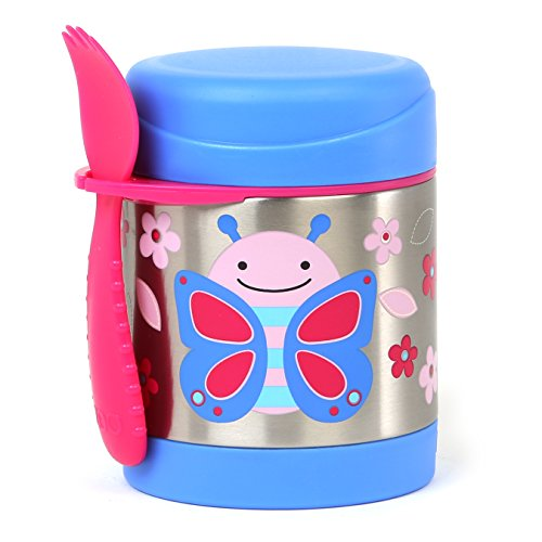 Skip Hop Baby Zoo Little Kid and Toddler Insulated Food Jar and Spork  Set, Holds 325 mL / 11 fl oz, Multi  Blossom Butterfly