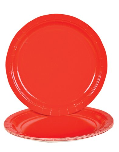 Lot Of 25 Red Paper Lunch Dinner Party Plates - 9""