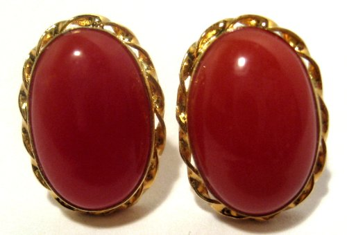 Coral Earrings Italian Mediterranean Post Back Sterling Silver 18k Gold Overlay