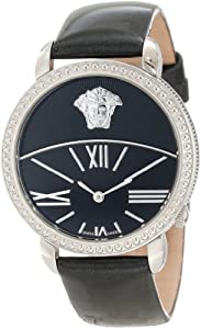 Versace Women's 93Q99D008 S009 Krios Black Enamel and Sunray Dial Patent Leather Band Watch