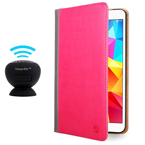 Vangoddy Mary Portfolio Pink Magenta Grey Multi Purpose Book Style Slim Flip Cover Case For Samsung Galaxy Tab 4 8.0' Android + Black Microphone Mini Suction Bluetooth Speaker