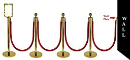 10 PCS ROPE STANCHION SET, CROWN TOP AND GOLD POLISH S.S. 12\