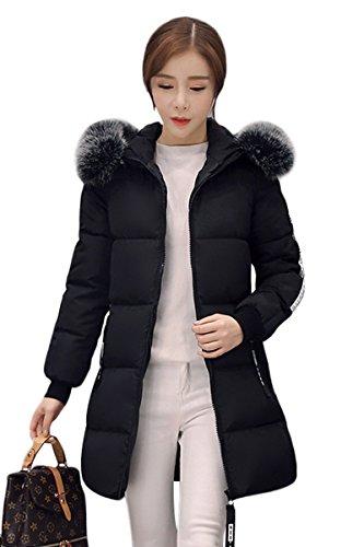 YMING Womens Slim lungo collo di pelliccia incappucciato giù cappotto del cotone del rivestimento Nero L