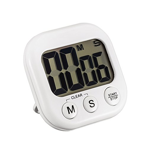 Anmire Extra Large LCD Screen, Loud Alarm Kitchen Timer with Magnetic Backing and Retractable Stand, Timing Alarm Clock for Cooking, Break, Sports and Meeting(White) (Duck Egg Timer compare prices)