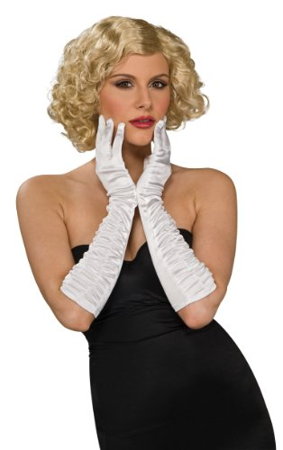 Secret Wishes Elbow Length Stretch Satin Costume Gloves, White, One Size - 1
