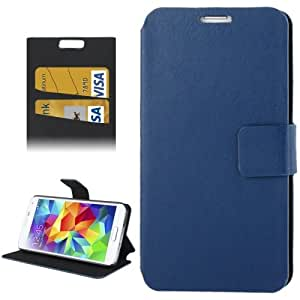 Crazy Horse Texture Horizontal Flip Leather Case with Card Slots & Holder for Samsung Galaxy S5 G900 in Blue