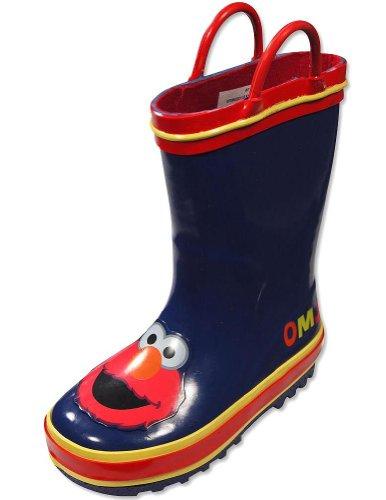 Sesame Street - Toddler Boys Elmo Rainboots, Navy, Red 28778-Xl11-12 front-12117