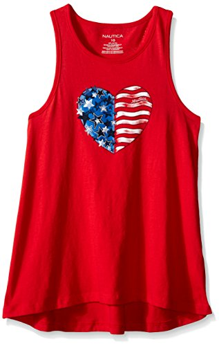 Nautica Big Girls' Trapeze Heart Tank, Red, 8