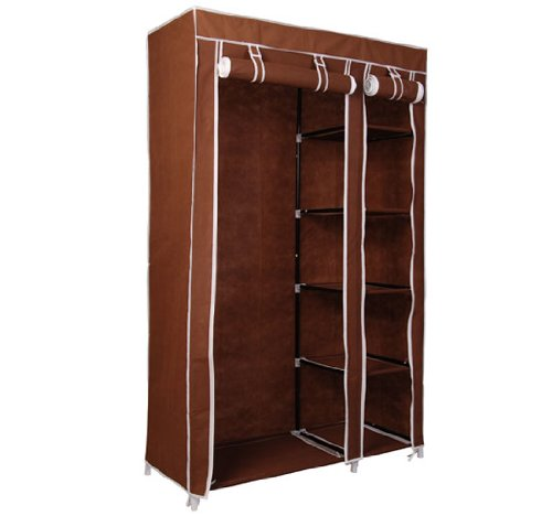 HomCom Portable Wardrobe Storage Closet Organizer - Coffee at Sears.com