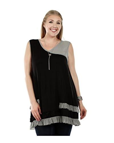 Simply Aster Plus Women's Ruffle Colorblock Tunic  [Black/Grey]